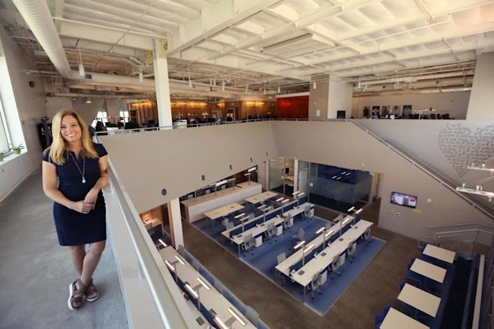 SANTA MONICA, CA - NOVEMBER 8, 2018 - - Jennifer Ferro, president of KCRW, stands inside the new KCRW Media Center in Santa Monica on November 8, 2018. The station's new building was designed by architect Clive Wilkinson and resides on the Santa Monica College?s Center for Media and Design Campus. (Genaro Molina/Los Angeles Times)