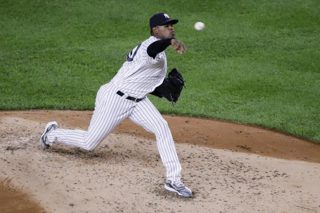 CORRECTS SPELLING TO SEVERINO, INSTEAD OF SERVERINO - New York Yankees' Luis Severino delivers a pitch during the third inning of a baseball game against the Los Angeles Angels Tuesday, Sept. 17, 2019, in New York. (AP Photo/Frank Franklin II)