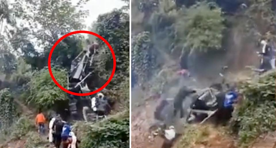 The funeral workers struggled to pull the coffin up a steep cliff face to the burial site. Source: Xuanwo Video