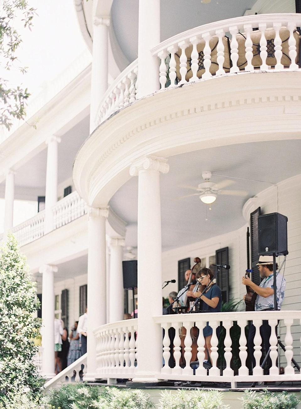 """A local band """"The Lowhills"""" played jazzy brunch music on the porch."""