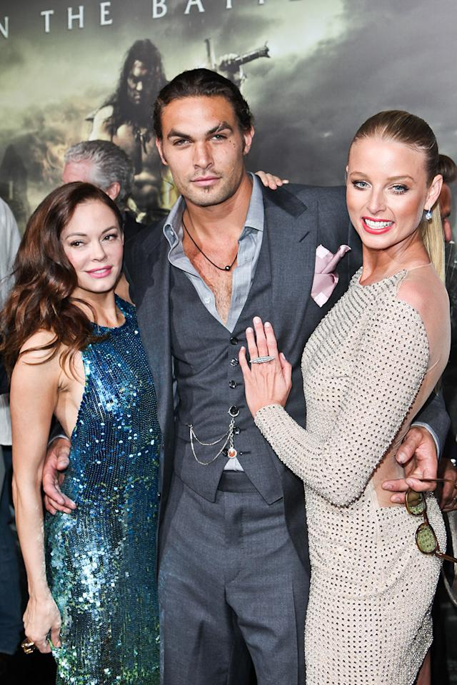 "<a href=""http://movies.yahoo.com/movie/contributor/1800023489"">Rose McGowan</a>, <a href=""http://movies.yahoo.com/movie/contributor/1809051437"">Jason Momoa</a> and <a href=""http://movies.yahoo.com/movie/contributor/1807799855"">Rachel Nichols</a> at the Los Angeles premiere of <a href=""http://movies.yahoo.com/movie/1809953260/info"">Conan the Barbarian</a> on August 11, 2011."