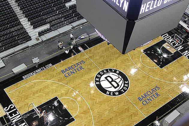 The Brooklyn Nets Reveal Their New Herringbone Patterned Home Court Photos