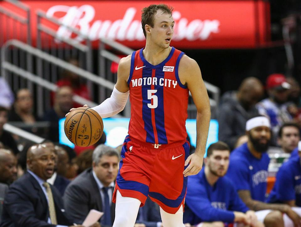 Detroit Pistons guard Luke Kennard dribbles against the Houston Rockets, Dec. 14, 2019 in  Houston.