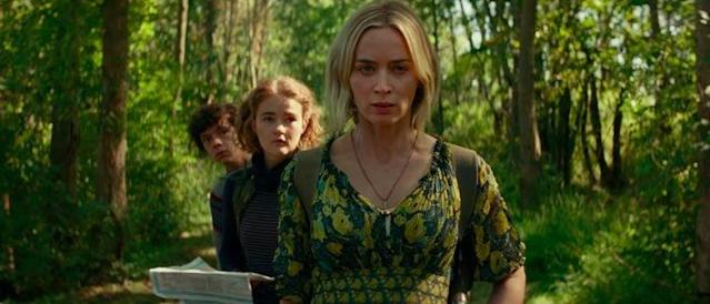 Emily Blunt, Millicent Simmonds, and Noah Jupe in A Quiet Place 2