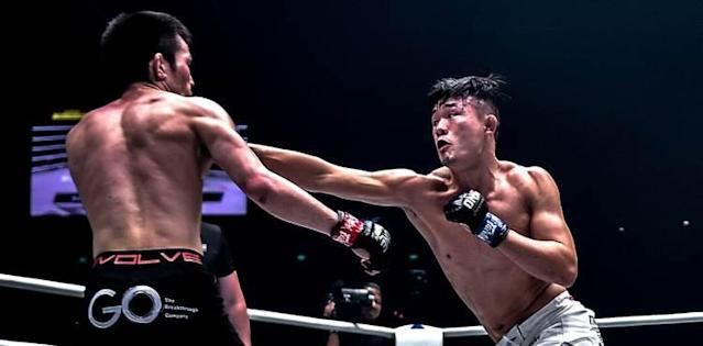 Christian Lee punches Shinya Aoki at ONE Enter the Dragon