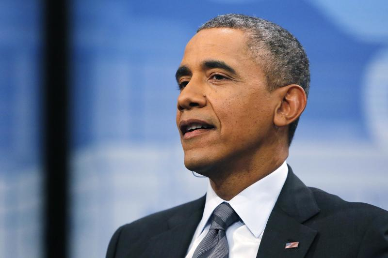 U.S. President Obama participates in a town hall-style forum to encourage Latino Americans to enroll in Obamacare health insurance plans, at the Newseum in Washington