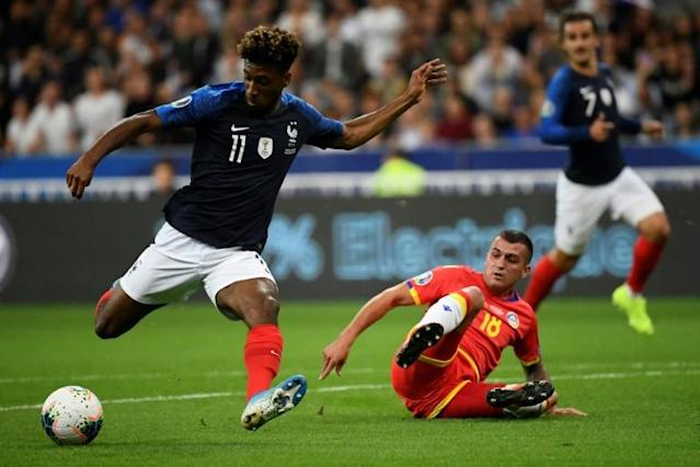 Kingsley Coman scored again as France cruised past Andorra (AFP Photo/Lionel BONAVENTURE)