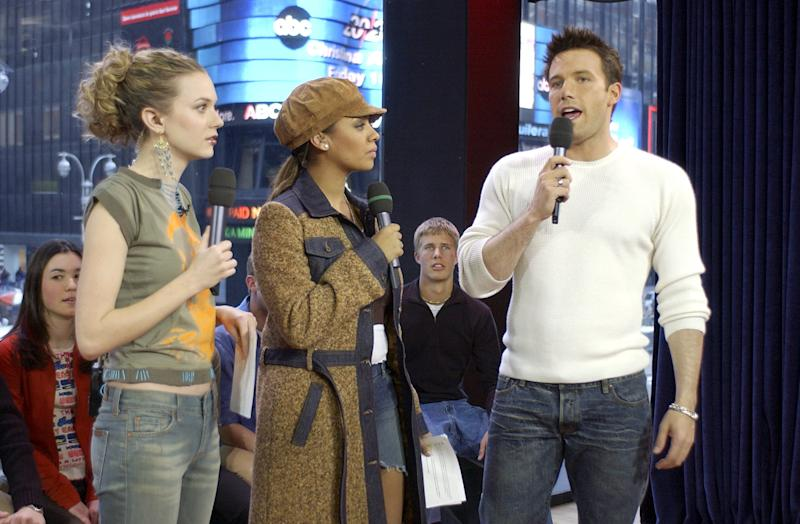 "Hilarie Burton, La La Anthony and Ben Affleck on ""TRL"" in February 2003. (Frank Micelotta via Getty Images)"