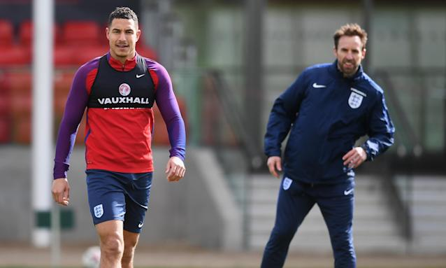 Jake Livermore (left) and Gareth Southgate. The West Brom midfielder has not had a great season but remains in the England reckoning.