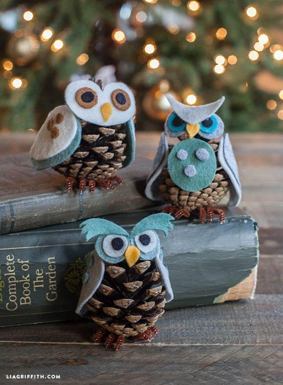 """<p>It's safe to say these felt birds are a total hoot, right down to their <a href=""""https://www.amazon.com/Creativity-Street-Chenille-Cleaners-100-Piece/dp/B002XK4A0G/?tag=syn-yahoo-20&ascsubtag=%5Bartid%7C10057.g.2818%5Bsrc%7Cyahoo-us"""" rel=""""nofollow noopener"""" target=""""_blank"""" data-ylk=""""slk:pipe-cleaner"""" class=""""link rapid-noclick-resp"""">pipe-cleaner</a> talons. </p><p>Get the tutorial at <a href=""""https://liagriffith.com/felt-pinecone-owl-ornaments/"""" rel=""""nofollow noopener"""" target=""""_blank"""" data-ylk=""""slk:Lia Griffith"""" class=""""link rapid-noclick-resp"""">Lia Griffith</a>.</p>"""