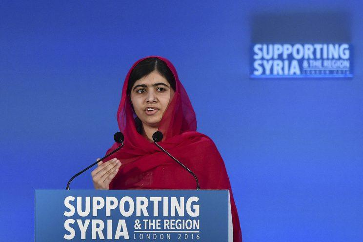 Pakistani Nobel Peace Prize laureate Malala Yousafzai addresses delegates the donors Conference for Syria in London. (Photo: Ben Stansall/Reuters)