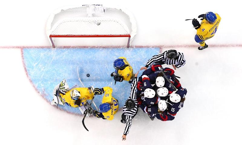 The US women, pictured here against Sweden at Sochi 2014, have never given a whipping to any opponent like the one they just handed out to USA Hockey.