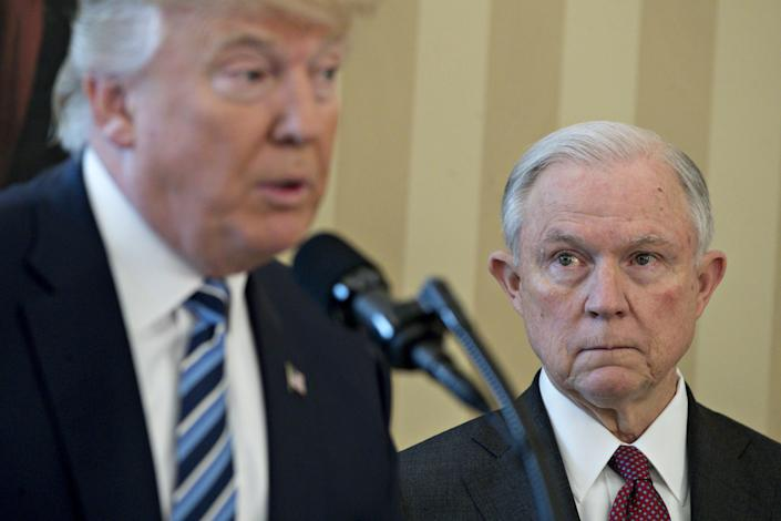 Jeff Sessions listens as President Trump speaks before he is sworn in as attorney general on Feb. 9, 2017. (Photo: Andrew Harrer/Bloomberg via Getty Images