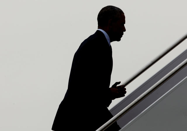 <p>President Obama boards Air Force One, June 16, 2016, at Andrews Air Force Base, Md., for trip to Orlando, Fla. (AP/Pablo Martinez Monsivais) </p>