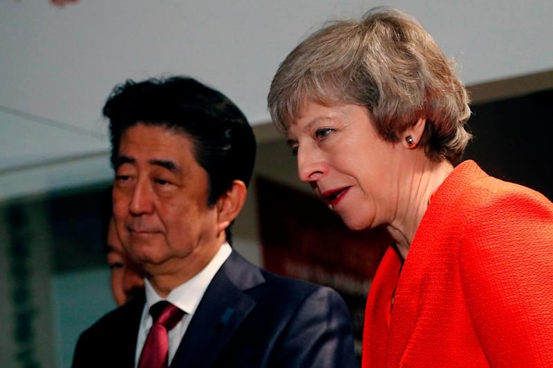 Prime Minister Theresa May and Japan's Prime Minister Shinzo Abe (AFP/Getty Images)