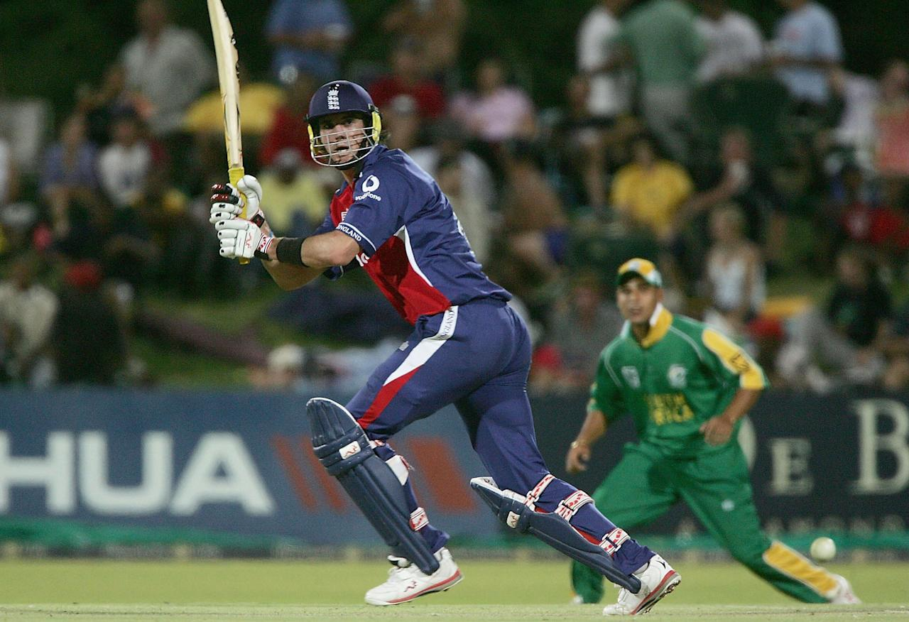 KIMBERLEY, SOUTH AFRICA - JANUARY 27:  Kevin Pietersen of England hits out during the South Africa A v England  on January 27 2005 at the DeBeers Oval, Kimberley, South Africa  (Photo by Tom Shaw/Getty Images)