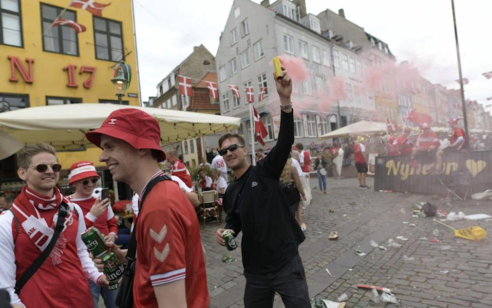 Denmark's supporters are pictured ahead of Denmark's first UEFA Euro 2020 football championships - AFP