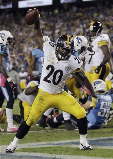 Pittsburgh Steelers running back Baron Batch (20) celebrates after rushing for a touchdown in the second half of an NFL football game against the Tennessee Titans on Thursday, Oct. 11, 2012, in Nashville, Tenn. (AP Photo/Wade Payne)