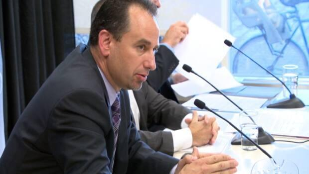 John Manconi speaks to reporters in 2014, long before he would become the public face of the city's LRT network and its many missteps. (CBC - image credit)