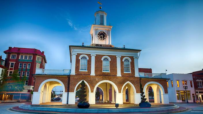 The historic Market House in downtown Fayetteville, North Carolina was built in 1838.