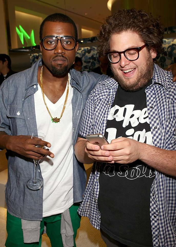 "Grammy winner Kanye West and actor Jonah Hill (""Superbad"") attend the opening of the Bape clothing and accessories store on trendy Melrose Avenue in West Hollywood, California. Arnold Turner/<a href=""http://www.wireimage.com"" target=""new"">WireImage.com</a> - April 23, 2008"
