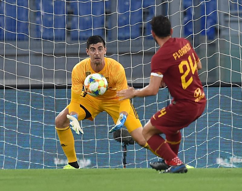 ROME, ITALY - AUGUST 11: Thibaut Courtois of Real Madrid in action during the Pre Season Friendly match between AS Roma and Real Madrid at Olimpico Stadium on August 11, 2019 in Rome, Italy. (Photo by Giuseppe Bellini/Getty Images)