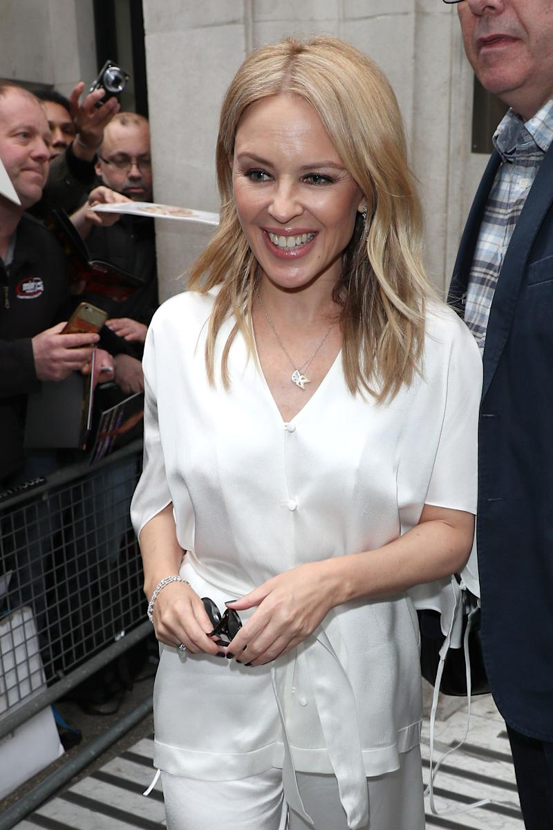LONDON, ENGLAND - MAY 03: Kylie Minogue at BBC Radio 2 on May 03, 2019 in London, England. (Photo by Neil Mockford/GC Images)