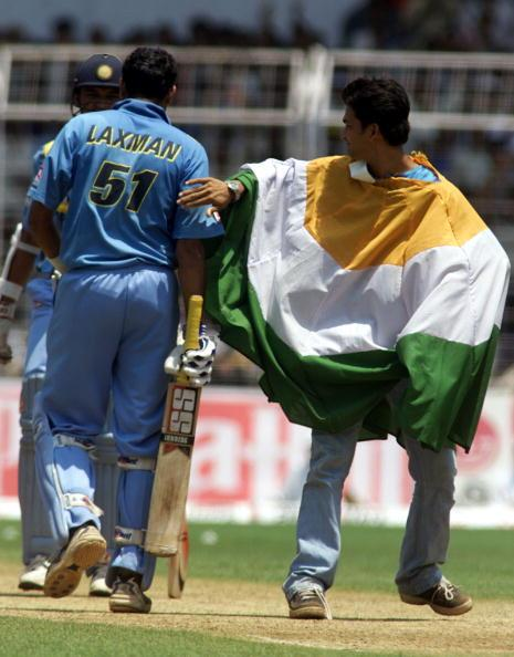 6 Apr 2001:  VVS Laxman of India is congratulated by a fan after reaching 100, during the 5th One Day International between India and Australia at the Nehru Stadium, Fatorda, Goa, India.  X DIGITAL IMAGE Mandatory Credit: Hamish Blair/ALLSPORT