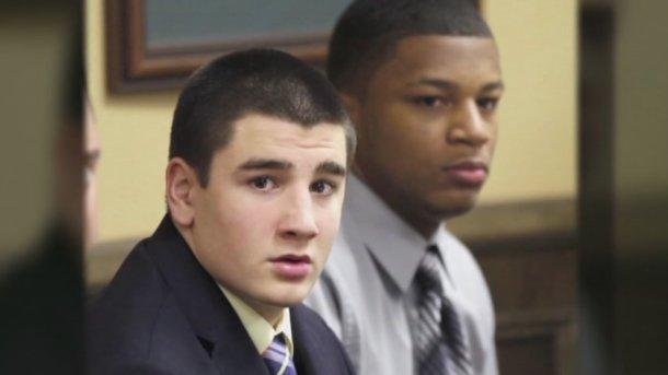 Trent Mays left, and Ma'lik Richmond sit in court on the third day of their trial for an alleged rape. (AP)