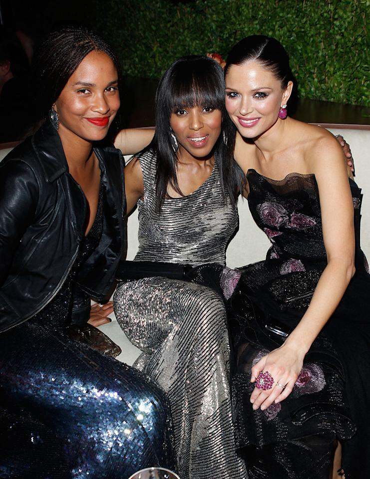 Joy Bryant, Kerry Washington, and Georgina Chapman held court in a booth at the Vanity Fair fest.