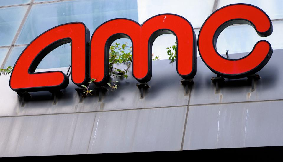 The AMC logo is seen at the AMC Georgetown 14 Theatres in Washington, DC on June 3, 2021. - A day after its share price almost doubled, AMC Entertainment on June 3 successfully completed a large new equity offering despite warning prospective shareholders that they could potentially lose their entire investment. (Photo by MANDEL NGAN / AFP) (Photo by MANDEL NGAN/AFP via Getty Images)