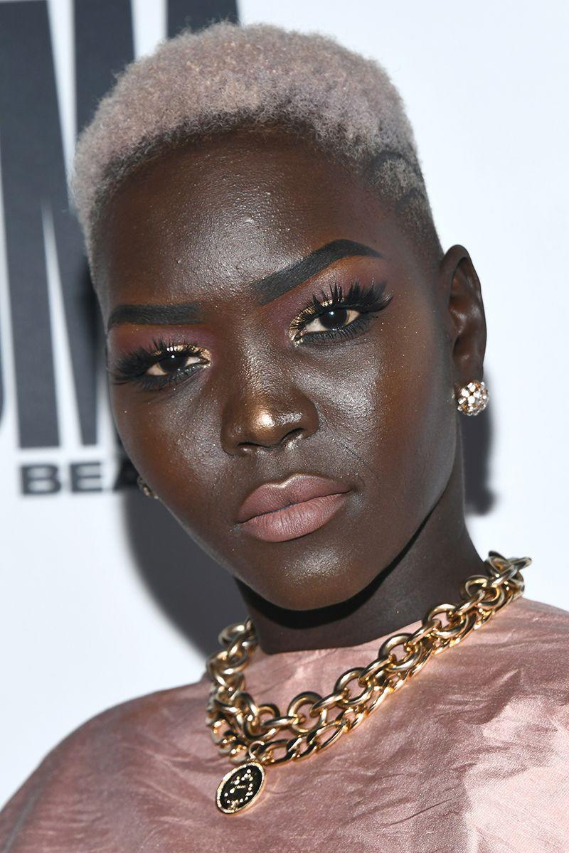 <p>Nyakim Gatwech's textured buzzcut has tapered sides to add some dimension. And we're obsessed with the cool silver shade. </p>