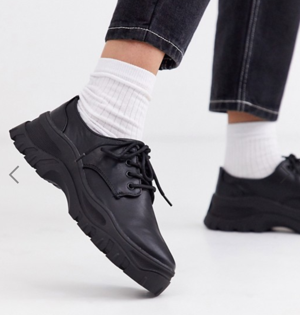 Monki lace up shoes with track sole in black 特價:$296.3,原價:$423.28