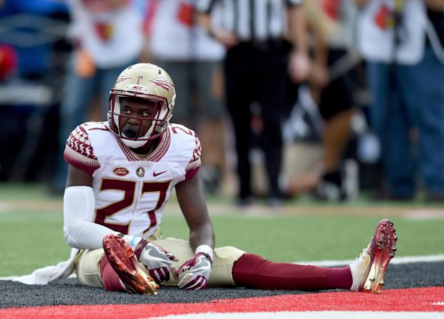 "Former Florida State player and current <a class=""link rapid-noclick-resp"" href=""/nfl/teams/dal"" data-ylk=""slk:Dallas Cowboys"">Dallas Cowboys</a> cornerback <a class=""link rapid-noclick-resp"" href=""/nfl/players/30329/"" data-ylk=""slk:Marquez White"">Marquez White</a> is facing a felony charge after flashing a gun during a road-rage incident in October. (Photo by Bobby Ellis/Getty Images)"