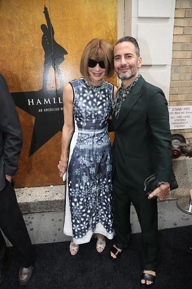 "<p>Anna Wintour and Marc Jacobs both took in ""Hamilton"" wearing loud prints. The ""Vogue"" EIC in a navy blue and white dress while her designer companion was wearing a forest green suit with a paisley blouse and open-toed sandals. </p>"
