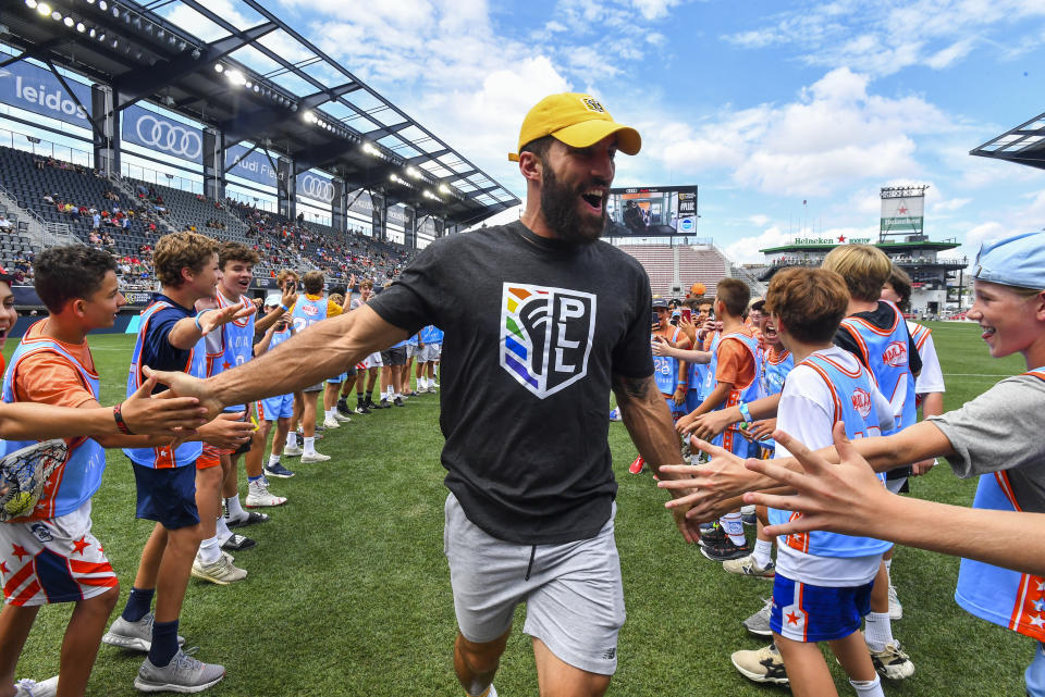 Atlas' Paul Rabil before a Premier Lacrosse League game on Sunday, July 7, 2019 in Washington. (Larry French/AP Images for Premier Lacrosse League)