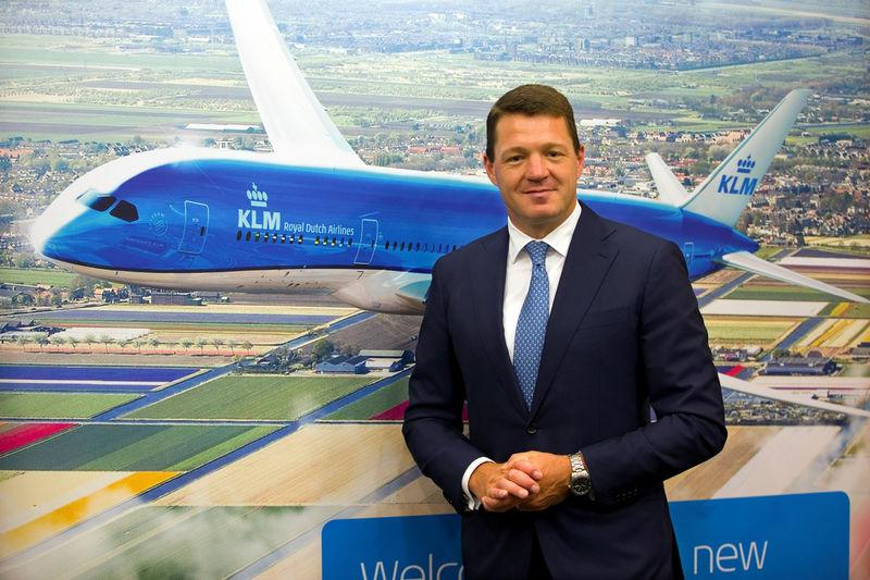 FILE PHOTO: Pieter Elbers, President and Chief Executive Officer of KLM, poses before a news conference in Paris