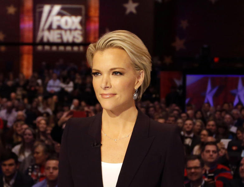 """FILE - In this Jan. 28, 2016 photo, Moderator Megyn Kelly waits for the start of the Republican presidential primary debate in Des Moines, Iowa.Kelly says she did the """"twirl"""" before Roger Ailes, too. The former Fox News Channel personality referred to a scene in the movie """"Bombshell,"""" where the late Fox News boss, portrayed by John Lithgow, asked an aspiring news anchor played by actress Margot Robbie to turn around in front of him so he could assess her body.  (AP Photo/Chris Carlson, File)"""