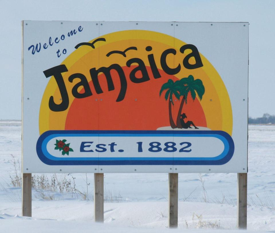 """<p>After a dispute on what to name the town (after its previous name was actually in use), a blindfolded mayor <a href=""""http://qctimes.com/jamaica-iowa/image_27f255f8-d33e-56db-addc-bea4d3f71f36.html"""" rel=""""nofollow noopener"""" target=""""_blank"""" data-ylk=""""slk:pointed at Jamaica on a map"""" class=""""link rapid-noclick-resp"""">pointed at Jamaica on a map</a> to gives this town its name.</p><p><a href=""""https://commons.wikimedia.org/wiki/File:Jamaica_Iowa_20080118_Sign.JPG#/media/File:Jamaica_Iowa_20080118_Sign.JPG"""" rel=""""nofollow noopener"""" target=""""_blank"""" data-ylk=""""slk:Photo by Ashton B. Crew via Wikimedia"""" class=""""link rapid-noclick-resp""""><em>Photo by Ashton B. Crew via Wikimedia</em></a></p>"""