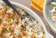"""<p><a href=""""https://www.thedailymeal.com/cook/comfort-casserole-breakfast-dinner-recipes?referrer=yahoo&category=beauty_food&include_utm=1&utm_medium=referral&utm_source=yahoo&utm_campaign=feed"""" rel=""""nofollow noopener"""" target=""""_blank"""" data-ylk=""""slk:Comfy, cheesy and cozy casseroles"""" class=""""link rapid-noclick-resp"""">Comfy, cheesy and cozy casseroles</a> are prime pick-me-up food. This recipe is a turkey take on a traditional tuna noodle casserole for any seafood skeptics. </p> <p><a href=""""https://www.thedailymeal.com/best-recipes/turkey-noodle-casserole?referrer=yahoo&category=beauty_food&include_utm=1&utm_medium=referral&utm_source=yahoo&utm_campaign=feed"""" rel=""""nofollow noopener"""" target=""""_blank"""" data-ylk=""""slk:For the Turkey Noodle Casserole recipe, click here."""" class=""""link rapid-noclick-resp"""">For the Turkey Noodle Casserole recipe, click here.</a></p>"""