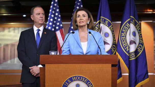PHOTO: House Speaker Nancy Pelosi and House Intelligence Committee Chair Adam Schiff, speak during a press conference in the House Studio of the US Capitol in Washington, DC on October 2, 2019. (Mandel Ngan/AFP/Getty Images)