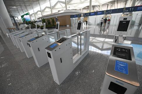 The security check facilities with facial recognition system at Terminal 2 of the second phase of the Haikou Meilan International Airport expansion project in Haikou on July 6, 2020. Photo: Xinhua
