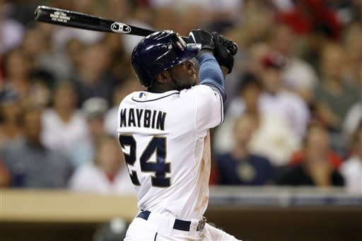 San Diego Padres' Cameron Maybin (24) hits a two-run home run against the St. Louis Cardinals during the third inning of their baseball game in San Diego, Calif., Monday, Sept. 10, 2012. (AP Photo/Alex Gallardo)