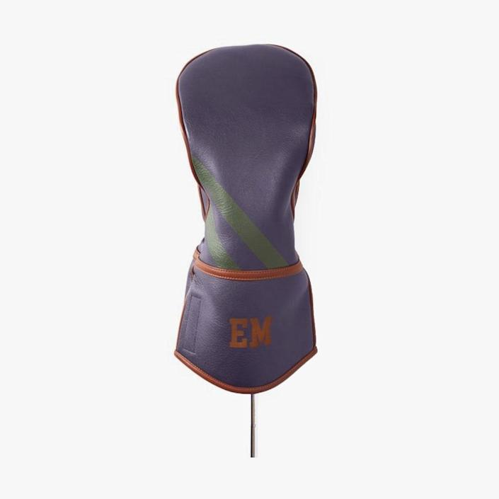 """$79, MARK AND GRAHAM. <a href=""""https://www.markandgraham.com/products/retro-leather-golf-driver-club-cover/"""" rel=""""nofollow noopener"""" target=""""_blank"""" data-ylk=""""slk:Buy Now"""" class=""""link rapid-noclick-resp"""">Buy Now</a><br>"""