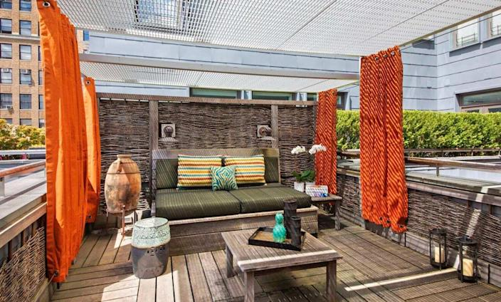 Gorgeous outdoor terrace featured in David Bowie's old Manhattan apartment.