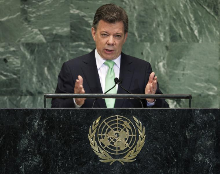 Colombian President Juan Manuel Santos Calderon addresses the 67th session of the United Nations General Assembly at U.N. headquarters Wednesday, Sept. 26, 2012. (AP Photo/Frank Franklin II)
