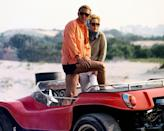 <p>Steve McQueen and Faye Dunaway posing in an open-top car in a publicity image issued for the film, The Thomas Crown Affair, 1968. </p>