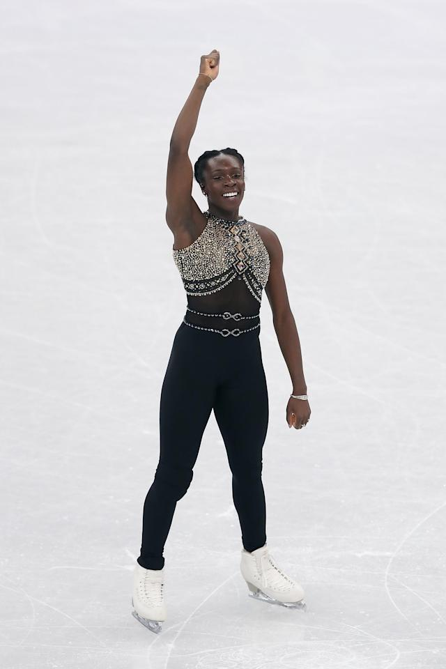 Maé-Bérénice Méité at the 2018 Winter Olympics on Feb. 11, 2018, in Gangneung, South Korea. (Photo: Getty Images)