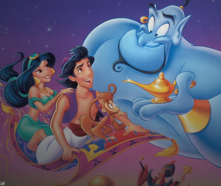 """<p>disneyplus.com</p><p><a href=""""https://go.redirectingat.com?id=74968X1596630&url=https%3A%2F%2Fwww.disneyplus.com%2Fmovies%2Faladdin-1992%2F2SngByljXESE&sref=https%3A%2F%2Fwww.redbookmag.com%2Flife%2Fg34929170%2Fbest-disney-movie1%2F"""" rel=""""nofollow noopener"""" target=""""_blank"""" data-ylk=""""slk:WATCH NOW"""" class=""""link rapid-noclick-resp"""">WATCH NOW</a></p><p>After the street urchin Aladdin is conned into entering the Cave of Wonders by the sultan's evil advisor Jafar, he escapes with the help of the Genie (Robin Williams) he releases from a magic lamp. After using one of his three wishes to be transformed into Prince Ali, Aladdin wins the heart of Princess Jasmine and defeats Jafar. It's hard to pick just one favorite song, but Williams's """"Friend Like Me"""" is a highlight in this nonstop soundtrack of hits.</p>"""