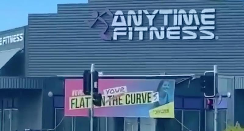 Anytime Fitness in Tweed Heads displayed this ad for about a week before removing it. Source: Supplied